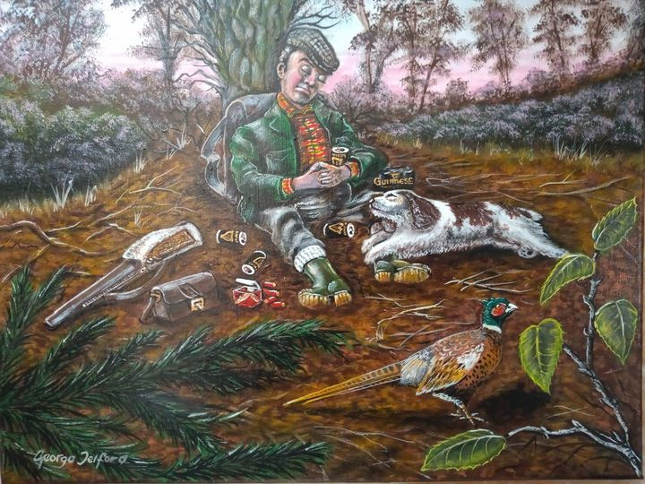 The Intrepid Hunter and his dog - george telford