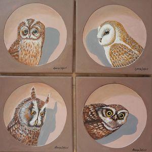 Four British Owls - george telford