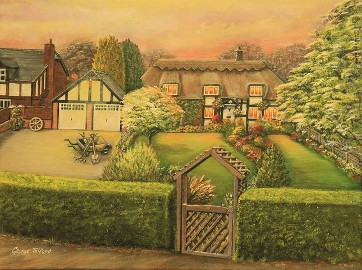 Sunset  over the Thatch - george telford