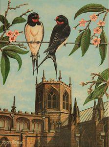 Swallows at the Church - george telford