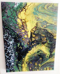 "9"" x 12"" Vibrant Yellow Acrylic Pour"