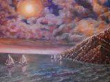 oil painting on canvas, sea,sai, unf