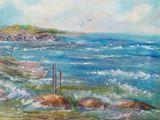 oil painting on canvas, sea, unf