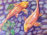 acrylic painting on canvas, fish
