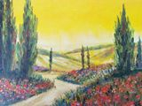 oil painting on canvas, field