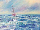 oil painting on canvas, sea