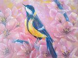 oil painting on canvas, bird