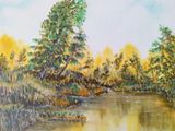 oil painting on canvas, pond