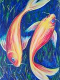 acrylic painting on canvas, fish