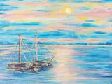 acrylic painting, sea, boats