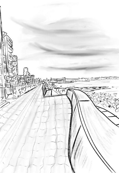 Sunabe seawall sketch - ISurfLikeAGirl