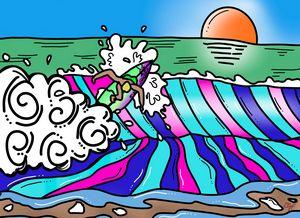 Shore break shortboarder