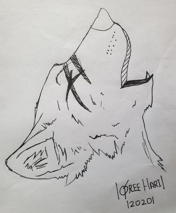 Howling Wolf Art - Sreehari-Dino