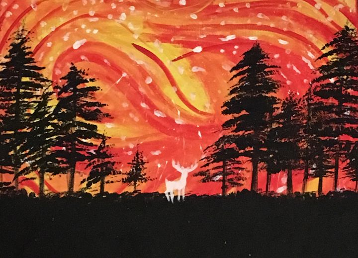A Red Sky And Black Forest - Cassidy's Art