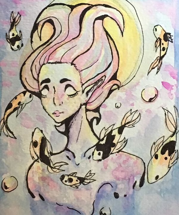 Water Woman Watercolor - Cassidy's Art