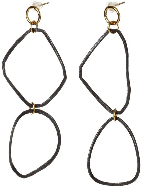Black powder coated Earrings - Sara Shahak Jewelry
