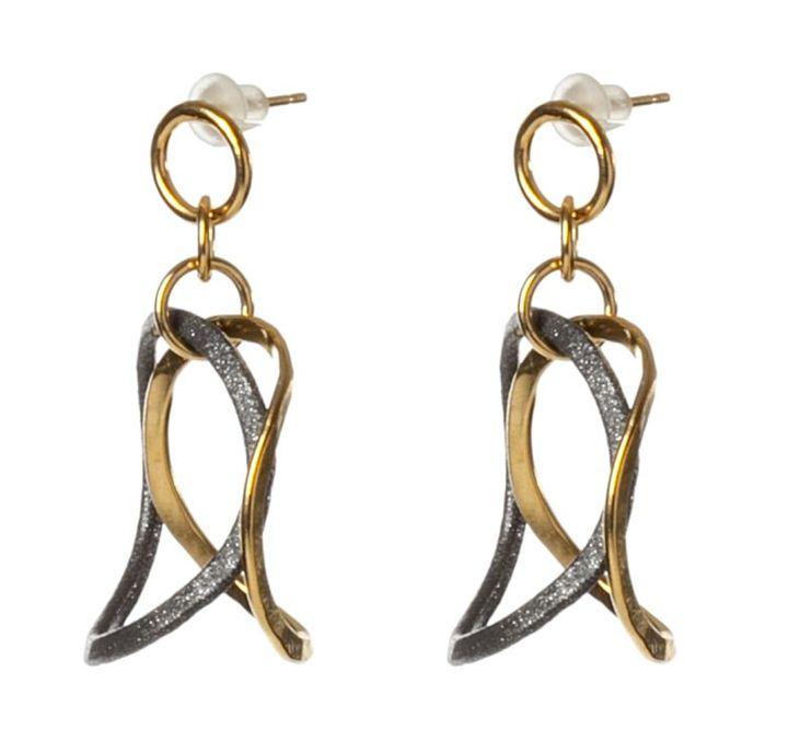 3D Bent Drops Earrings - Sara Shahak Jewelry