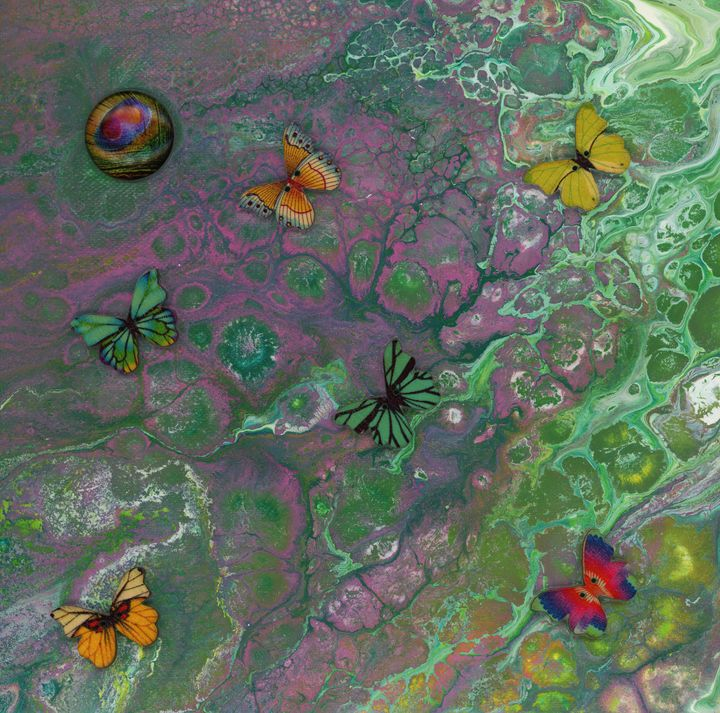 Rainbow Butterfly Pour - Art By LeClaire Designs