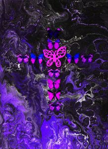 Purple Fire Cross - Art By LeClaire Designs