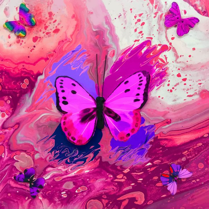 Pink Butterfly - Art By LeClaire Designs