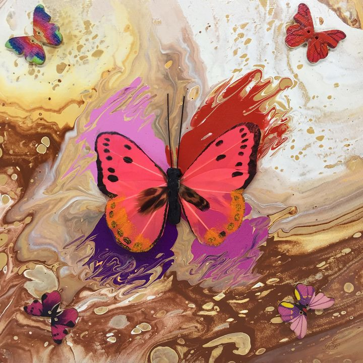 Cream Butterfly - Art By LeClaire Designs