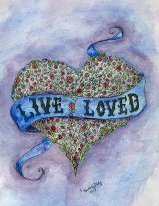 Live Loved Purple Blue Watercolor