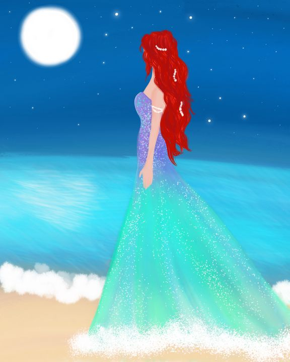 Pondering Wandering Mermaid - Lisa G's Digital Art