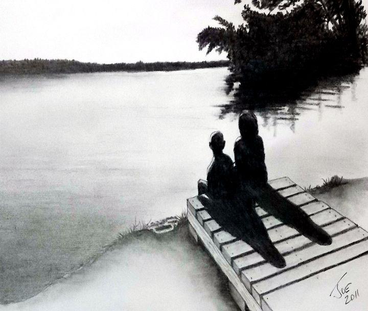 Kids on a Dock - ArtbyJosephB