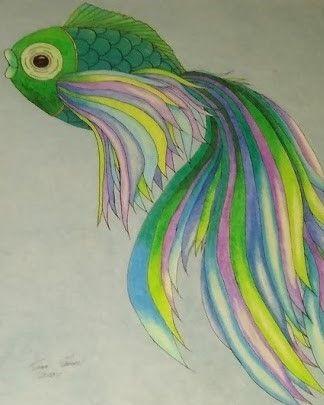 "Mardi Gras Colored Fish - Fran's Art World ""Through the Eye of Imagination"""