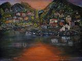 Original painting coastal village