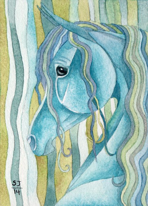 Turquoise Horse On Serpentine Stripe - Suzy Joyner