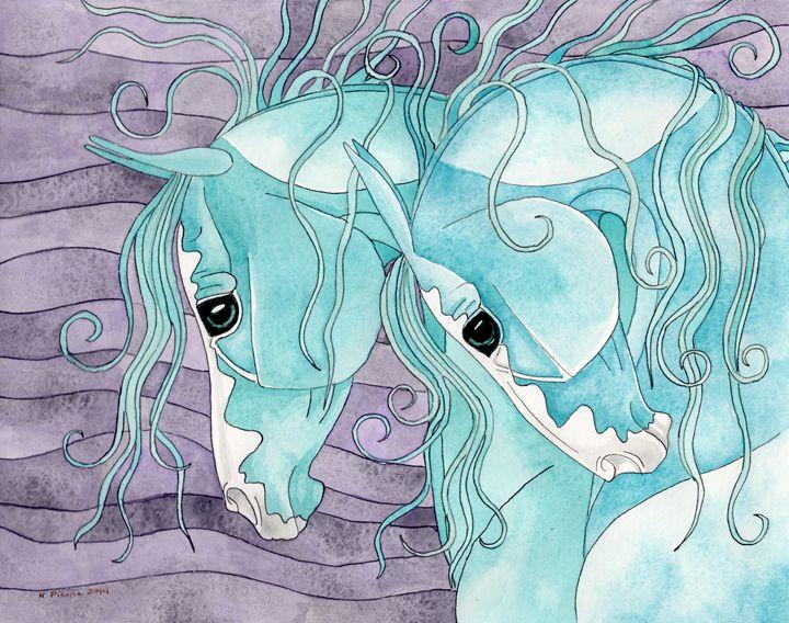 Turquoise Herd On Amethyst Waves - Suzy Joyner