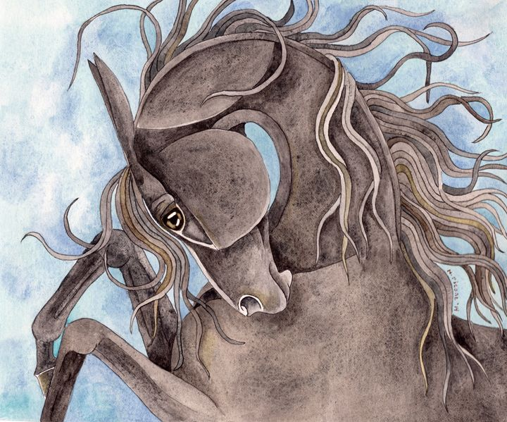 Rearing Hematite Horse - Suzy Joyner