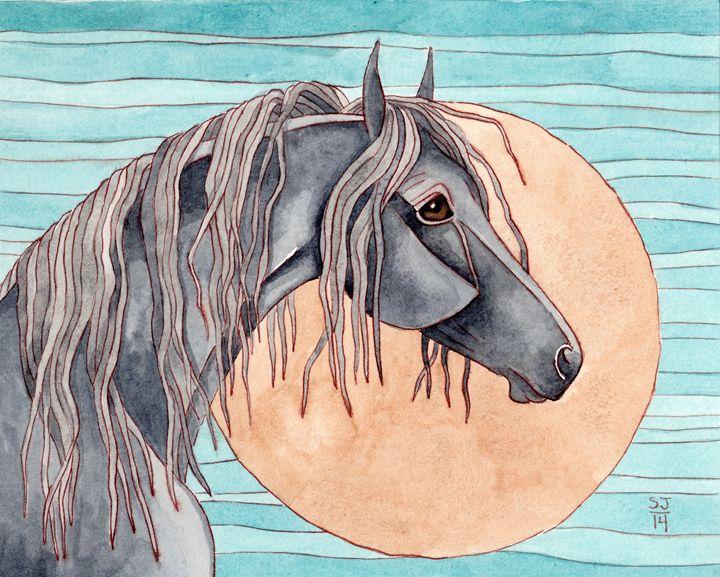 Friesian On Bronzite Moon - Suzy Joyner