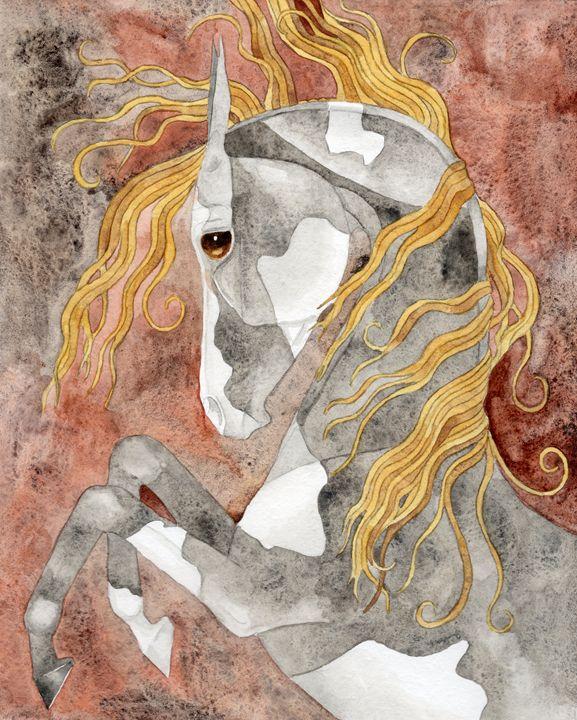 Rearing Tourmaline Horse - Suzy Joyner