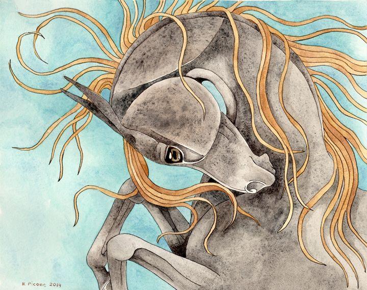 Rearing Hematite Horse On Turquoise - Suzy Joyner