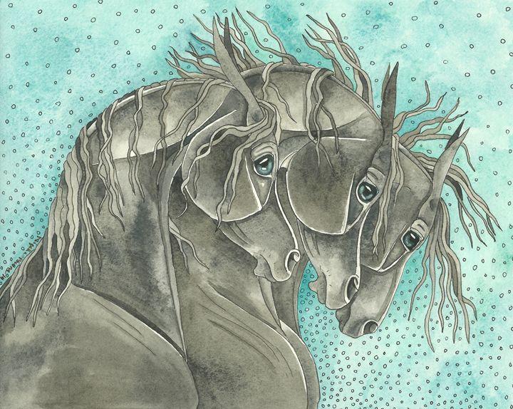 """Black Arabians On Turquoise"" - Suzy Joyner"