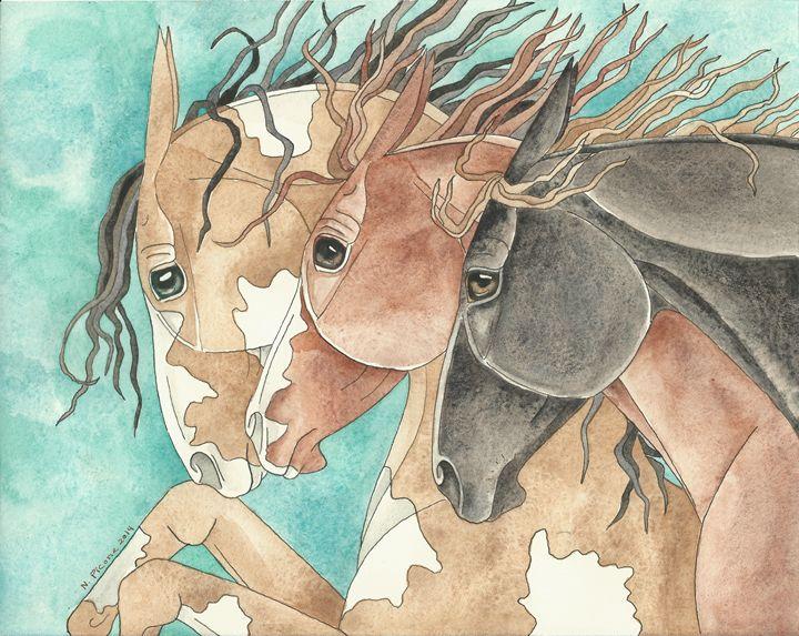 Western Herd On Turquoise - Suzy Joyner