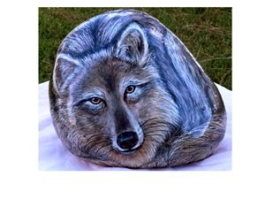 Acrylic Wolf on Country Rock