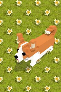 Voxel dog and the flowers