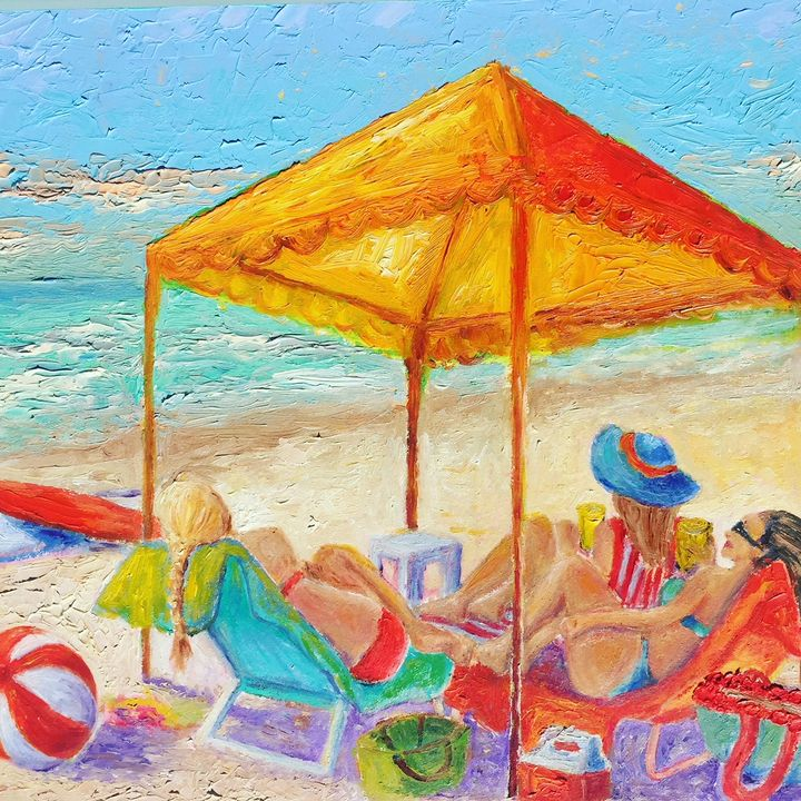 Girls Relaxing on the Beach - Patrycja Hauer-Ivey