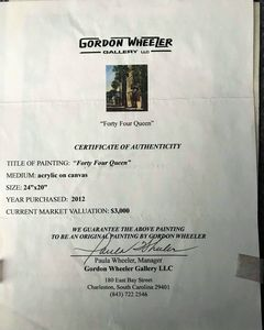 Certificate of authentication - Gordon Wheeler Paintings