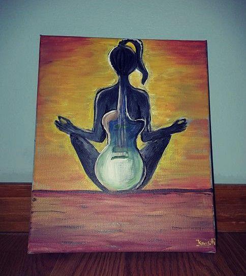 Guitar-lady-yoga - Kristi Art