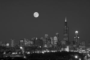 Chicago Skyline and Full Moon In BW