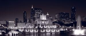 Buckingham Fountain Panorama BW - Steve Gadomski