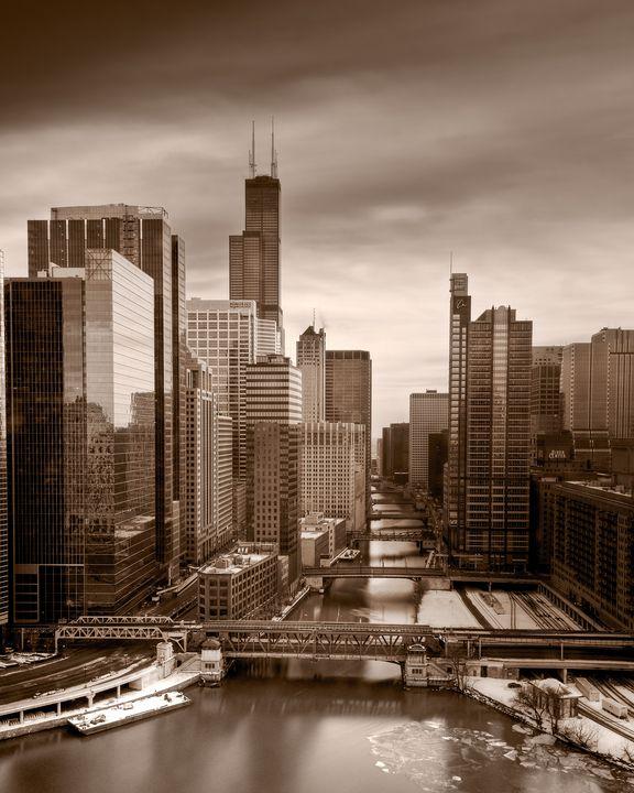 Chicago City View B W - Steve Gadomski