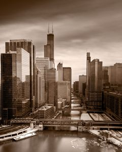 Chicago City View B W