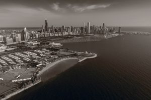 Chicago Lakefront Aerial BW
