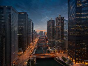 Chicago River Sunset