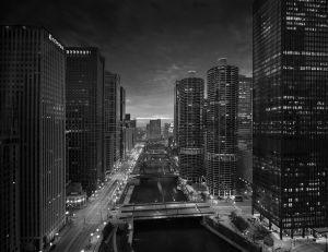 Chicago River Sunset B & W